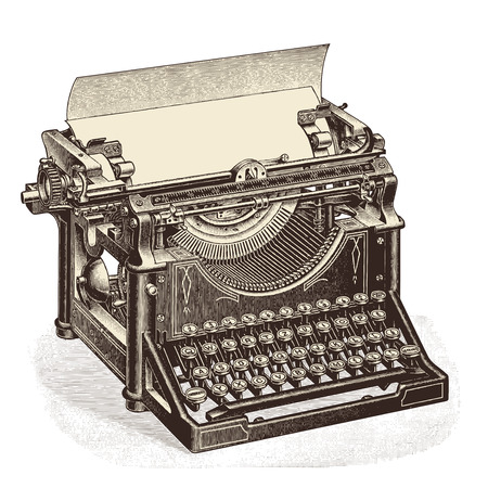 vintage typewriter with blank sheet of paper Çizim