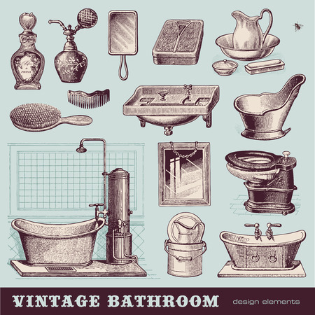 vintage bathroom - furniture and accessories Vector