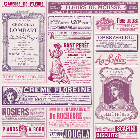 background pattern with french ads on ladies  topics