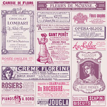 paris vintage: fondo con anuncios del francés en los temas de las señoras