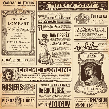advertisements: background patterns made of french ads on ladies  topics