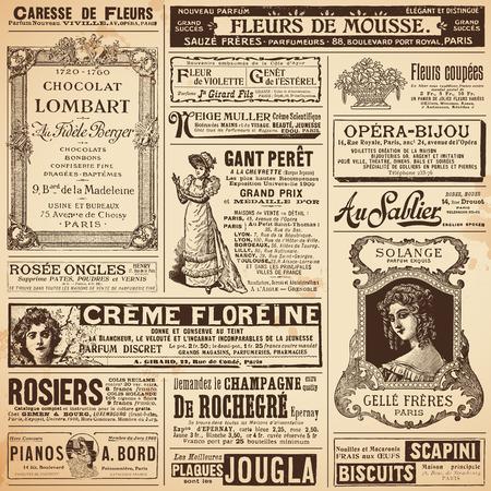 periódicos: patrones de fondo hechas de anuncios del francés de las señoras de los temas