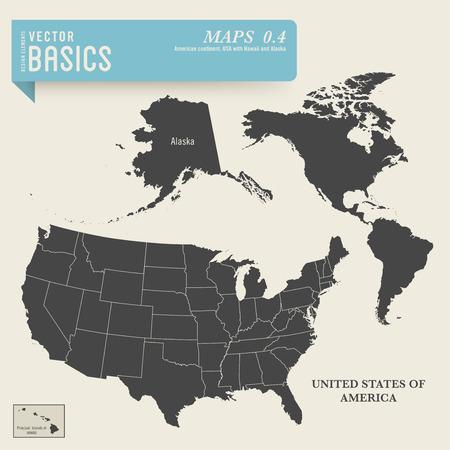 mapa del continente americano y Estados Unidos con Hawai y Alaska fuente http www lib utexas edu mapas united_states united_states_wall_2002 declaración de permiso jpg http www lib utexas edu use_statement html Ilustración de vector