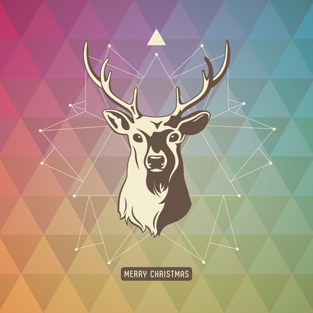 xmas background with geometric pattern, star and deer Vector