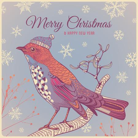 冬の鳥とクリスマスの背景