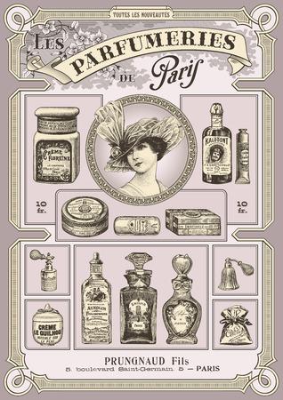 cartoline vittoriane: parfumeries di Parigi - poster o carta d'epoca formato DIN Vettoriali