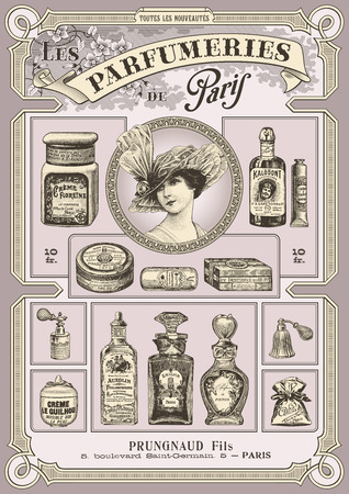 fragrances: parfumeries of Paris - vintage poster or card  DIN format