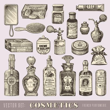 fragranza: set di cosmetici d'epoca Vettoriali