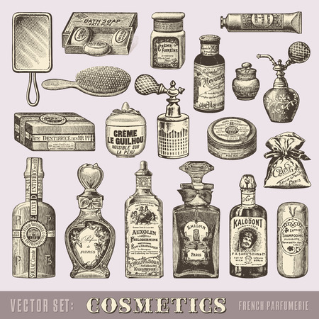 french perfume: set of vintage cosmetics Illustration