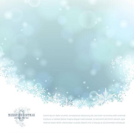 雪と明るい青い冬の背景