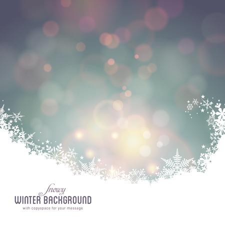 多重ライトと雪に覆われた冬の背景  イラスト・ベクター素材
