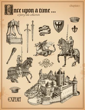 Colección de cuento de hadas con los caballeros y el castillo medieval Foto de archivo - 29264284