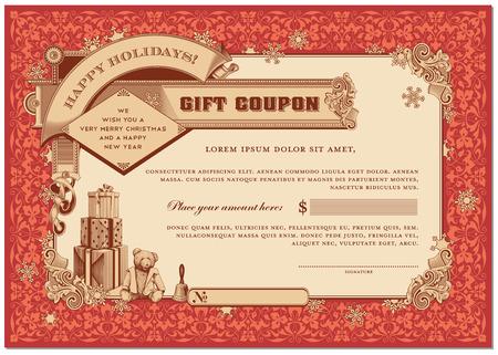 華やかなクリスマス ギフト券プレゼントと雪