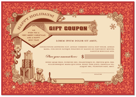 money border: ornate christmas gift certificate with gifts and snowflakes
