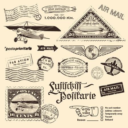 빈티지 항공 우편 우표 및 기타 우표 디자인 요소 일러스트
