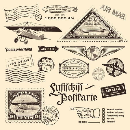 travel destinations: vintage air mail stamps and other postage design elements