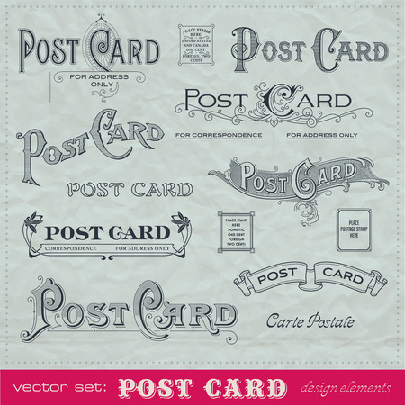 postcard back: hand-lettered retro postage design elements