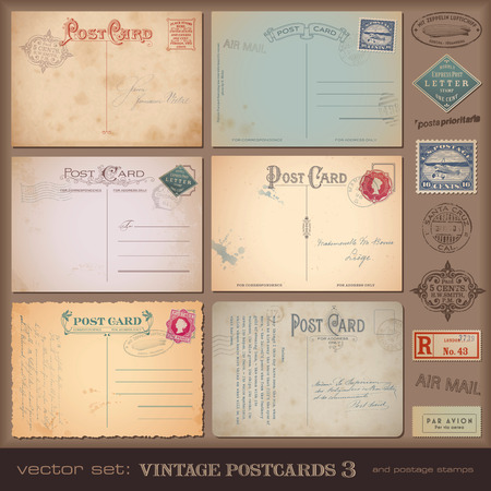 ностальгический: набор ностальгических открытки и марки Иллюстрация