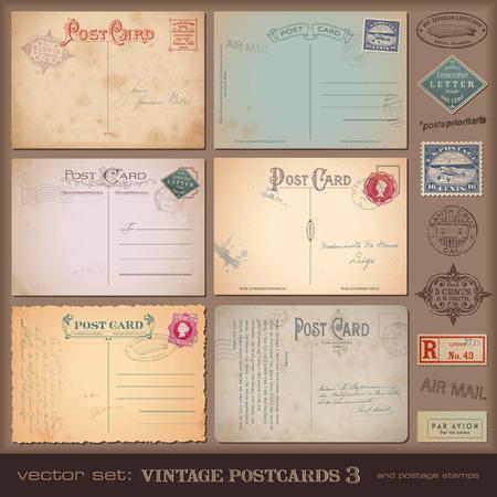 Conjunto de tarjetas postales y sellos nostálgicos Foto de archivo - 29264380