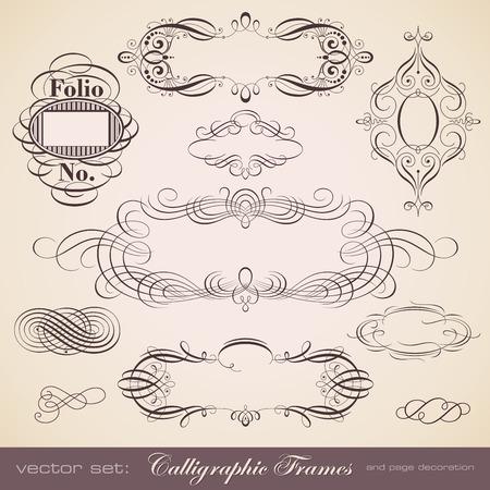 linework: set of calligraphic frames