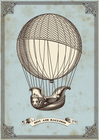 vintage card with hot air balloon  イラスト・ベクター素材