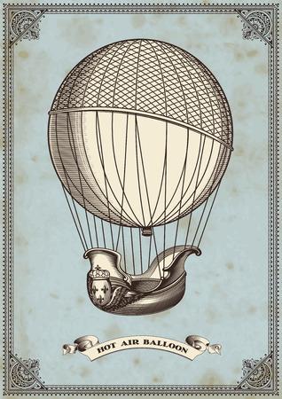 globo: tarjeta de la vendimia con el globo de aire caliente