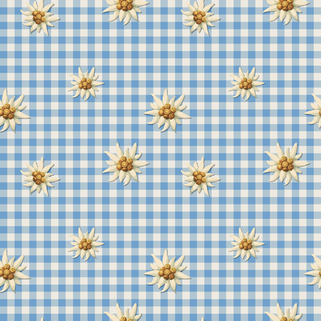 Tiling alpine pattern with edelweiss Illustration