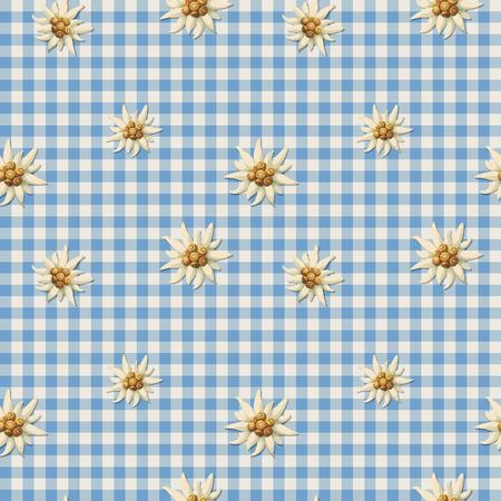 Tiling alpine pattern with edelweiss Illusztráció