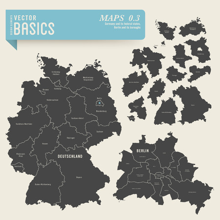 Karten von Deutschland mit den Bundesländern und Berlin mit seinen Stadtteilen Illustration