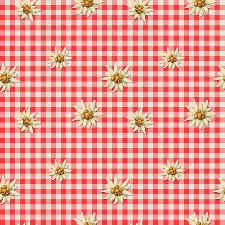 에델바이스로 알파인 패턴을 바둑판 식으로 배열하다.