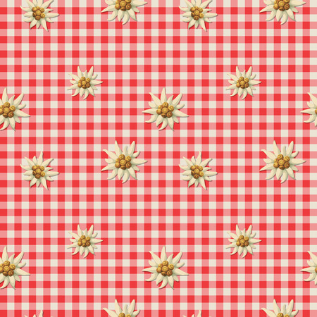 swiss alps: tiling alpine pattern with edelweiss