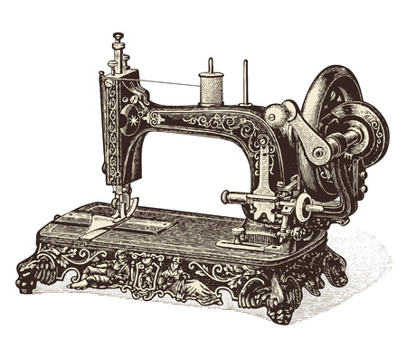 sew: vintage naaimachine Stock Illustratie