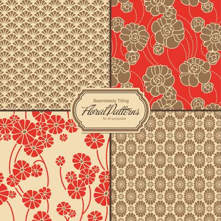 花のパターン タイル パターン パレットに保存の設定します。  イラスト・ベクター素材