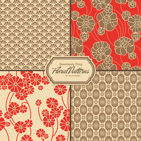 floral patterns set  tiles saved to the patterns palette  Vector
