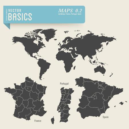 背景とフランス、ポルトガルおよびスペインの詳細な地図