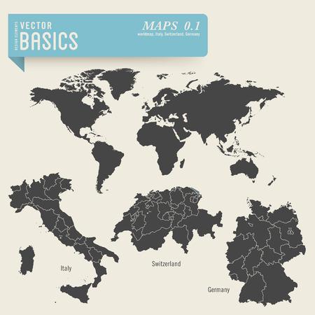 世界とドイツ、スイス、イタリアの詳細な地図