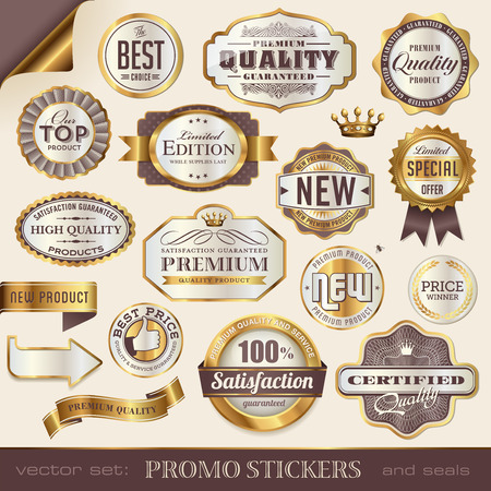 satisfaction guaranteed: golden promo stickers, seals and badges Illustration
