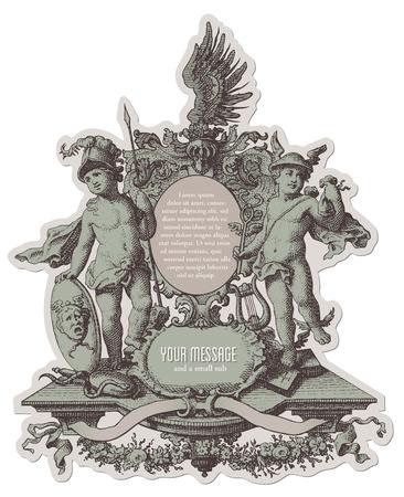 cherubs: heraldic cartouche with cherubs and various decorative elements Illustration