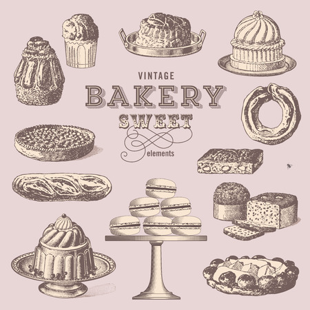 vintage bakery - collection of sweet treats
