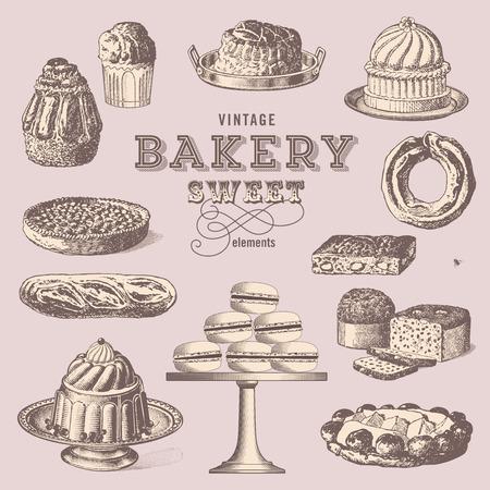 gateau: Vintage bakery - raccolta di dolci
