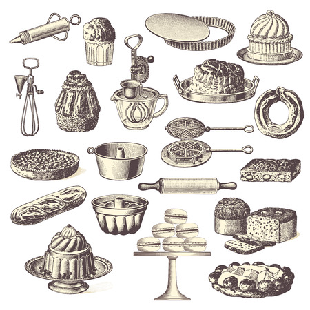 flan: large collection of vintage bakery design elements