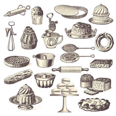 large collection of vintage bakery design elements