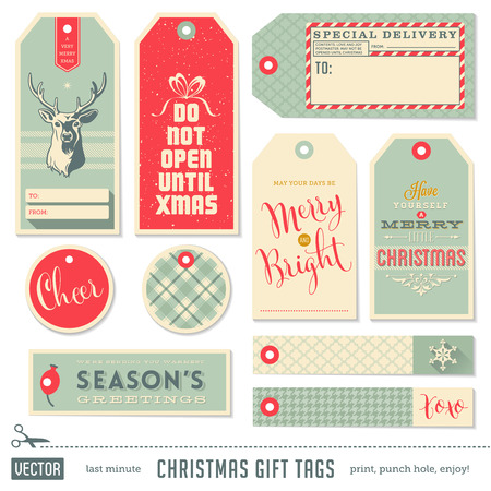 set of ready-to-use christmas gift tags Stock Illustratie