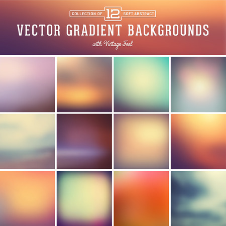 sunset clouds: 12 abstract blurred gradient background with vintage feel