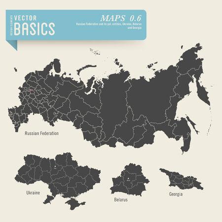 ロシア連邦、ウクライナ、ベラルーシ、グルジアの地図  イラスト・ベクター素材