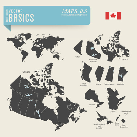 worldmap and detailed maps of Canada and its provinces Vector