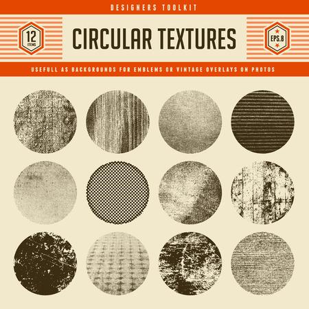textura madera: Conjunto de 12 texturas vector circulares altamente detalladas