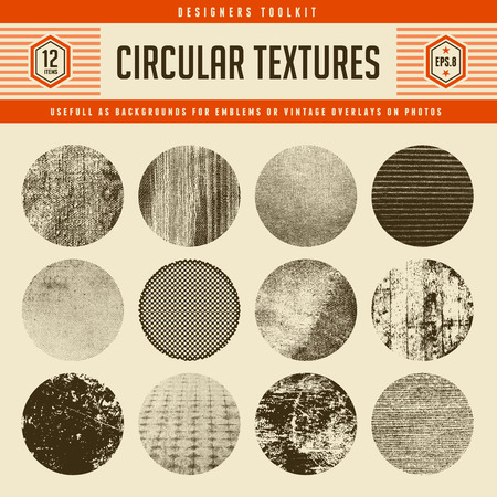 distressed wood: Set of 12 highly detailed circular vector textures