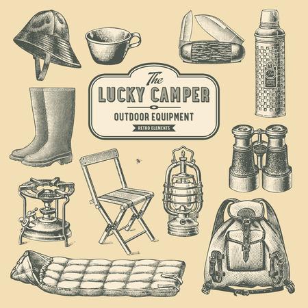 レトロなキャンプやアウトドア用品  イラスト・ベクター素材
