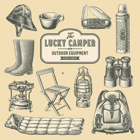 rainwear: retro camping and outdoor equipment